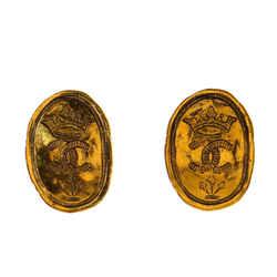 CC Crown Oval Plate Clip-On Earrings Metal