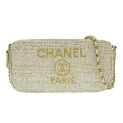 Auth Chanel Deauville Chain Wallet Round Zipper Clutch White 27s Leather