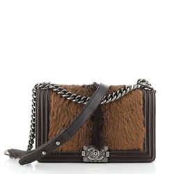 Boy Flap Bag Fur with Leather Old Medium