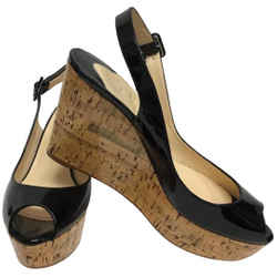 Christian Louboutin Black Patent Leather Peep Toe Slingback Wedges Size: EU 39 (Approx. US 9) Regular (M, B) Item #: 25711677