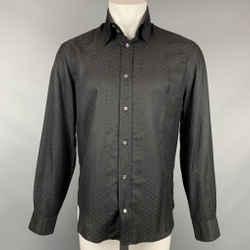 VERSUS by GIANNI VERSACE Size M Black Print Cotton / Silk Long Sleeve Shirt