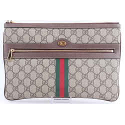 Gucci Ophidia GG Supreme Pouch Clutch Brown One Size Authenticity Guaranteed