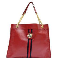 GUCCI  Rajah Large Leather Tote Shoulder Bag Red 537219