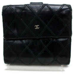 Chanel 872146 Quilted Black Lambskin Square Compact Wallet