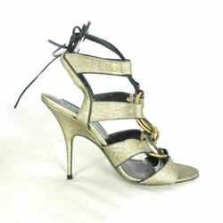 8 - Donna Karan Gold Strappy Sexy $775 Stiletto Heel Shoes w/ Box 0503HU