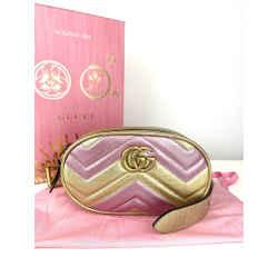 Gucci Metallic Calfskin Marmont Belt Bag Size 85 (Size M)