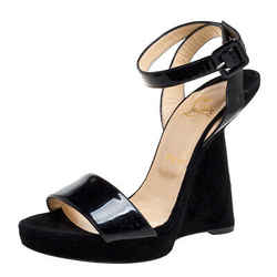 Christian Louboutin Black Suede And Patent Leather Djaldos Spechio Ankle Strap