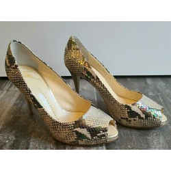 Giuseppe Zanotti Leather Snakeskin Embossed Hidden Platform Open Toe Heels - 39