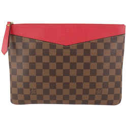 Louis Vuitton Large Damier Ebene x Red Daily Pouch Clutch Toiletry 915lv63