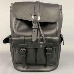 COACH Black Pebble Grain Leather Hudson Backpack