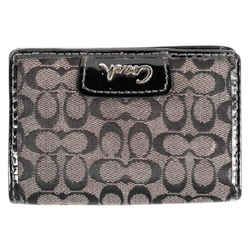 "Coach Black Monogram Canvas Patent Leather Flap Over Wallet Mini 4.25""l X 3""h X 1""w"