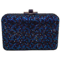 Judith Leiber Blue And Purple Swarovski Crystal Minaudiere Evening Bag Clutch