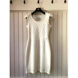 CHANEL Wool Cap Sleeve Slip on Sheath Dress in Cream - P36543K02239 AU024 - Size EU 38