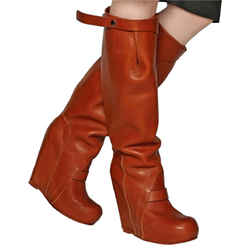 Rick Owens Brown 140mm Leather Wedges Boots/Booties Size: US 8