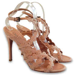 NEW ALAIA Flower Laser-Cut Suede Slingbacks - Blush - Size 39