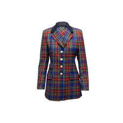 Blue & Multicolor Escada Sport Virgin Wool Plaid Blazer