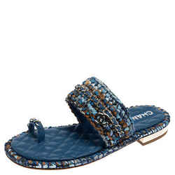 Chanel Blue Raffia And Leather CC Thong Flats Size 39.5