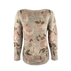 Kenzo Size S Grey Knitted Floral Wool Boat Neck Sweater