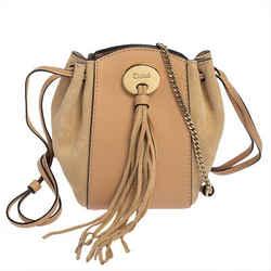 Chloe Beige Leather and Suede Mini Sac Fringe Shoulder Bag