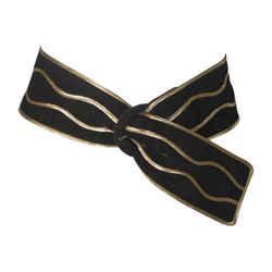 YVES SAINT LAURENT Black Suede Belt with Gold Applique