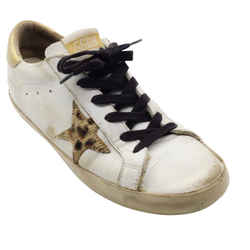 Golden Goose Deluxe Brand White And Gold Leopard Star Sneakers