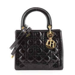 Vintage Lady Dior Bag Cannage Quilt Patent Medium