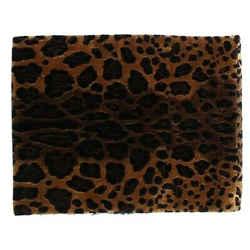 Dolce & Gabbana Black Fur Leopard Print Women's Scarf