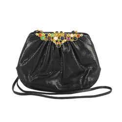 Judith Leiber   Black Jeweled Shoulder Bag