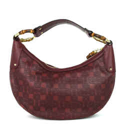 Bamboo Ring Embossed Leather Bag