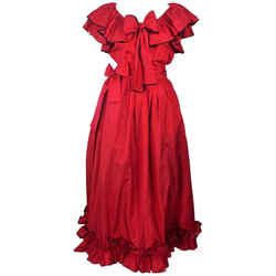 YVES SAINT LAURENT 1970s 2 pc Red Satin Ruffled Skirt Set Size 40