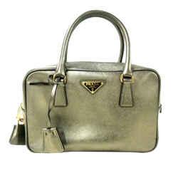 Vintage Authentic Prada Silver Calf Leather Saffiano Bauletto Handbag Italy