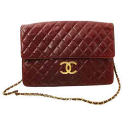 Chanel Bordeaux Burgundy Quilted Leather XL Classic Gold Chain Flap  861387
