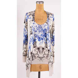 44/46 New $2,045 Roberto Cavalli Ivory Blue Baroque Floral Print Fall Cardigan Tank Set