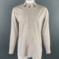 ERMENEGILDO ZEGNA Size M Orange Plaid Cotton Button Up Long Sleeve Shirt