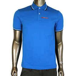 Prada Men's Cyan Blue Cotton Short Sleeve Polo Shirt SJJ887 Turchese (XXL)