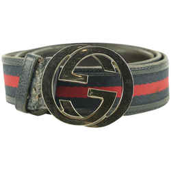 Gucci Navy Web GG Interlocking Belt 736ggs324