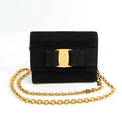 Salvatore Ferragamo Vara AQ213202 Women's Suede Shoulder Bag Black BF521789