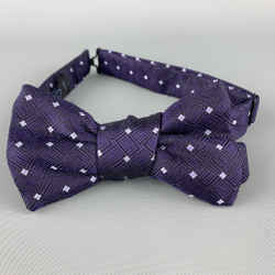 Charvet Purple Geometric Print Silk Bow Tie