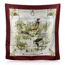 Gucci Vintage Silk Ducks and Pheasants Print Scarf Burgundy Borders