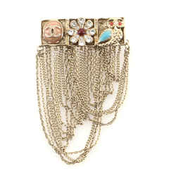Multistrand Chain Brooch Metal with Enamel and Crystal