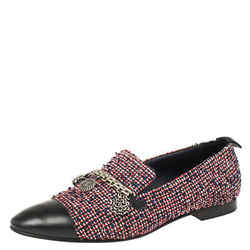 Chanel Multicolor Tweed And Leather Chain Charms Cap Toe Smoking Slippers Size