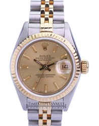 Rolex Lady Datejust 69173 Quickset Factory Champagne Dial Fluted Bezel