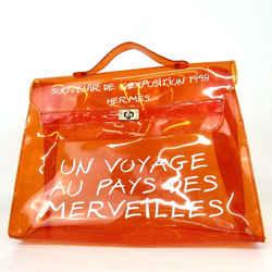 Hermes Souvenir Clear Kelly Orange Beach Bag 860403