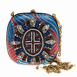 Gucci Multicolor Metallic Brocade Broadway Faux Pearl Embellished Minaudiere