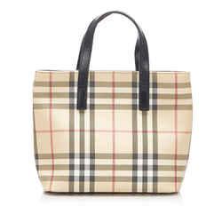Vintage Authentic Burberry Brown Beige Canvas Fabric House Check PVC Handbag UK