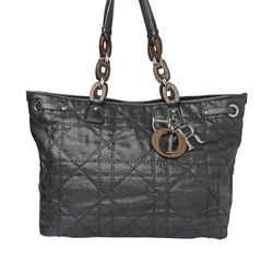 Vintage Authentic Dior Black Cannage Panarea Tote Bag France
