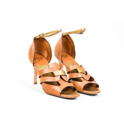 Laurence Dacade Brown Antique Gold-Tone Leather Cut Out Sandal SZ 38.5