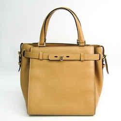 Valextra B Cube V5c67 Women's Leather Handbag Beige Bf503994