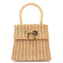 Auth Salvatore Ferragamo Gancio Basket Handbag Beige Straw