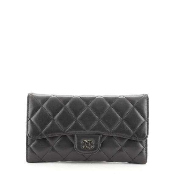 L-Flap Wallet Quilted Lambskin Long